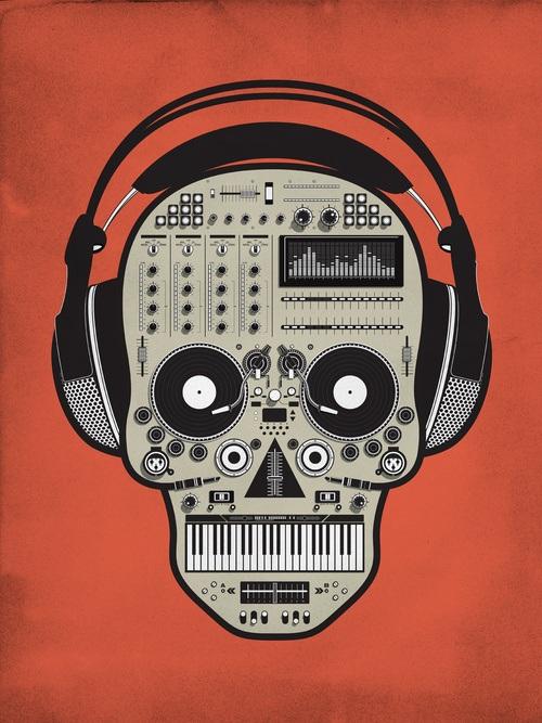 tony_bamber_orange_dj_skull